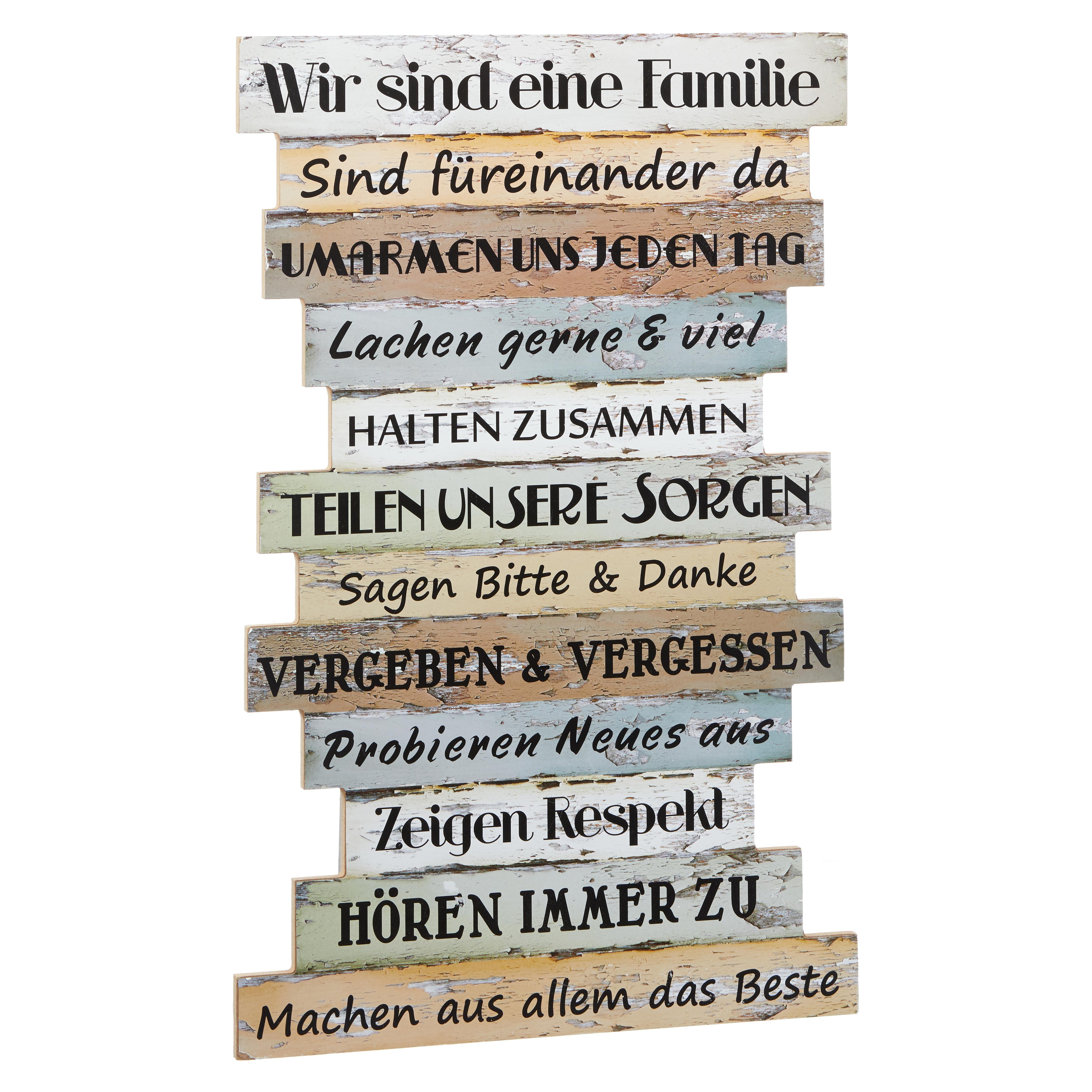 FAMILIENREGELN Planken-Schild