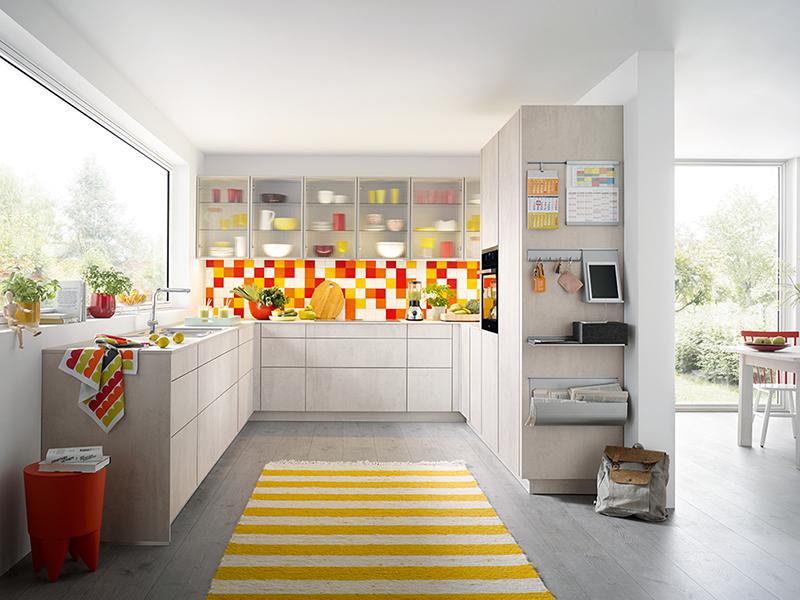 u-form Küche ohne Griffe Beton-Optik beige hell grau creme mit Backofen