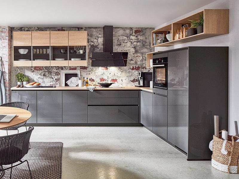 nobilia Küche holz grau E-Geräte